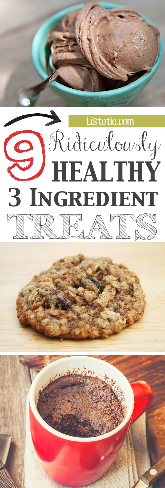 Quick, easy and healthy 3 ingredient snacks for kids, teens and adults! The perfect guilt-free treats and desserts! These recipes are perfect for weight loss and health. Listotic.com