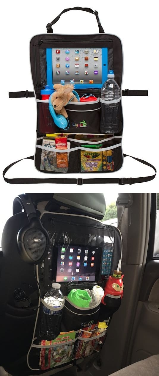 10 Helpful Car Tips and Ideas -- This is perfect to keep the back seat organized, and the kids can watch movies on the iPad!