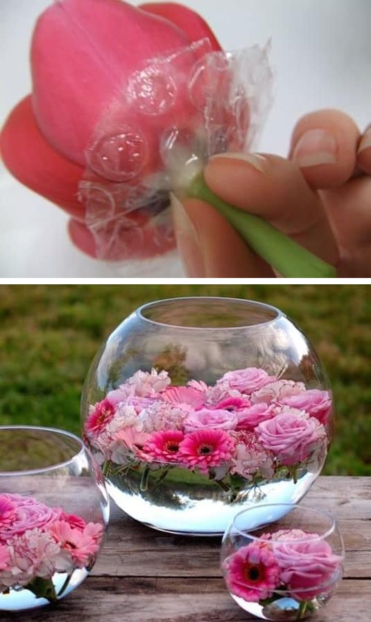 #7. Use bubble wrap for floating flowers. -- 13 Clever Flower Arrangement Tips & Tricks