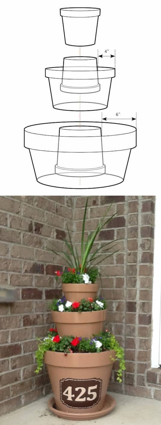 #8. Create a masterpiece simply by stacking pots. -- 13 Flower ideas