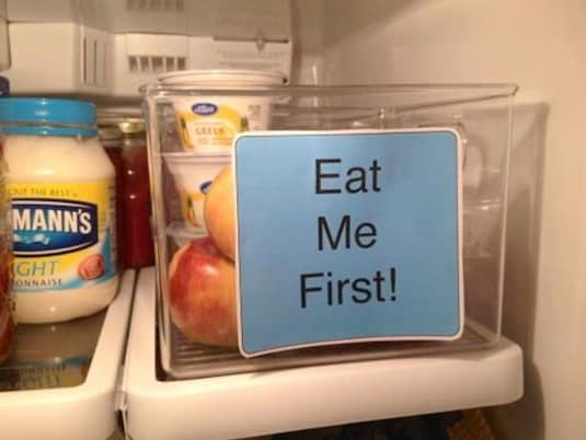 #1. Label a bin for food that will soon expire to prevent waste. | Fridge Organization Ideas! Use these refrigerator tips and tricks to keep your fridge organized and clean! A few of these DIY hacks will also free up space and save you a few bucks on wasted or spoiled food (a few dollar store ideas here). | Listotic