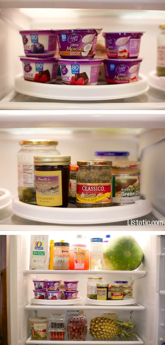 11 Brilliant Fridge Organization Ideas -- Use lazy susans in your refrigerator!! I can't believe I've never thought of this. Use these refrigerator tips and tricks to keep your fridge organized and clean! A few of these DIY hacks will also free up space and save you a few bucks on wasted or spoiled food (a few dollar store ideas here). | Listotic