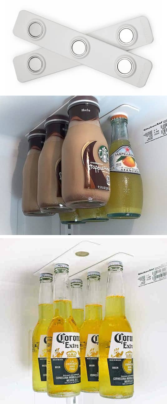 #12. Use magnetic bottle holders to utilize empty air space in your fridge. | 11 Brilliant Fridge Organization Ideas