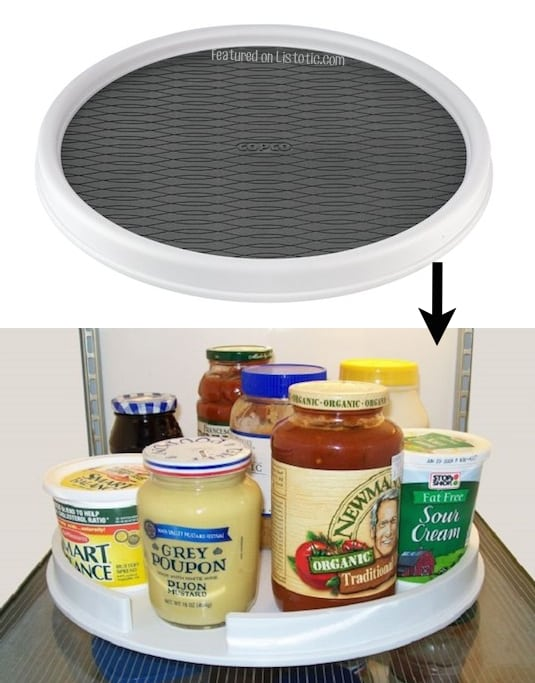 #2. Put a lazy susan in your fridge to easily access all of your condiments and jars. | 11 Brilliant Fridge Organization Ideas -- Use these refrigerator tips and tricks to keep your fridge organized and clean! A few of these DIY hacks will also free up space and save you a few bucks on wasted or spoiled food (a few dollar store ideas here). | Listotic