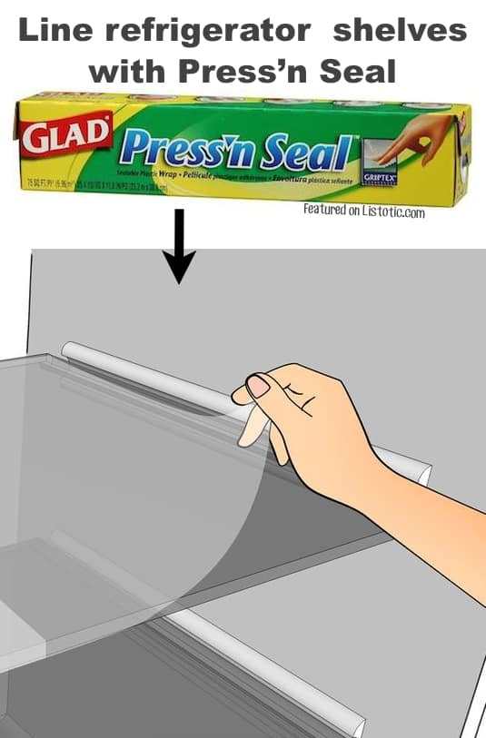 #5. Use Pressn' Seal to line shelves that tend to get messy in your fridge (in the door, too!).| 11 Brilliant Fridge Organization Ideas -- Use these refrigerator tips and tricks to keep your fridge organized and clean! A few of these DIY hacks will also free up space and save you a few bucks on wasted or spoiled food (a few dollar store ideas here). | Listotic.com