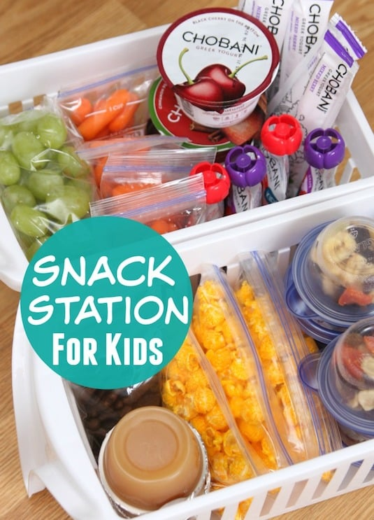 #6. Create an easy to access snack station for the kids using pull-out plastic bins. | 11 Brilliant Fridge Organization Ideas -- Use these refrigerator tips and tricks to keep your fridge organized and clean! A few of these DIY hacks will also free up space and save you a few bucks on wasted or spoiled food (a few dollar store ideas here). | Listotic.com