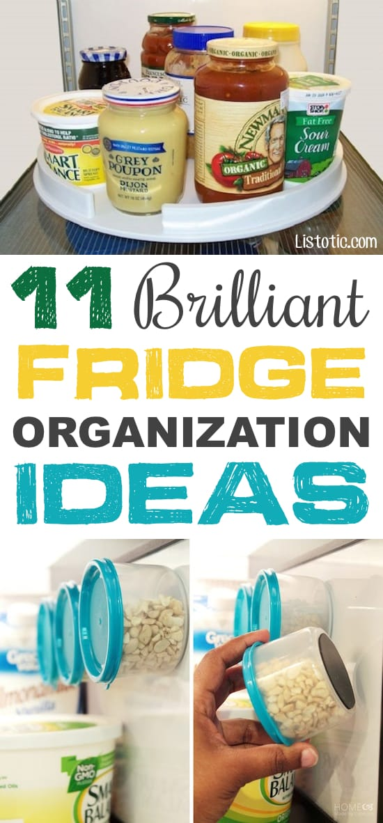 Fridge Organization Ideas! Use these refrigerator tips and tricks to keep your fridge organized and clean! A few of these DIY hacks will also free up space and save you a few bucks on wasted or spoiled food (a few dollar store ideas here). | Listotic