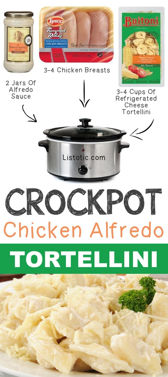 #11. Crockpot Chicken Alfredo Tortellini | 12 Mind-Blowing Ways To Cook Meat In Your Crockpot | Listotic