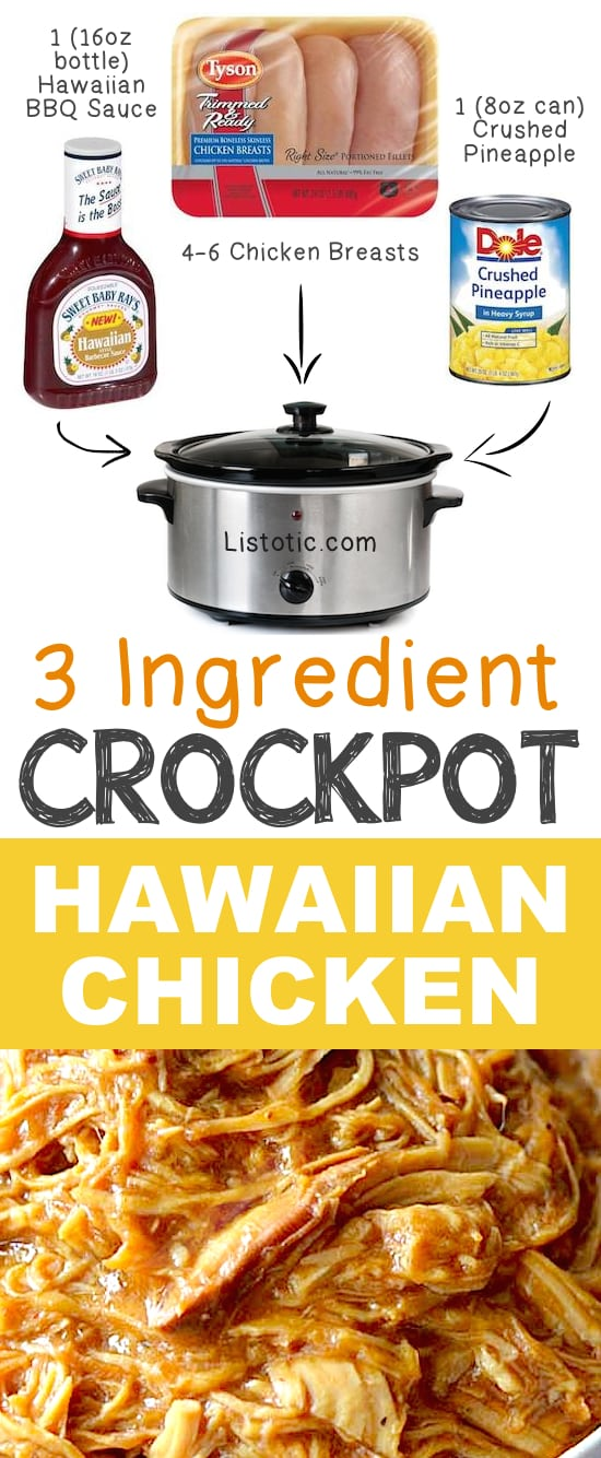 3 Ingredient Crockpot Hawaiian Shredded Chicken
