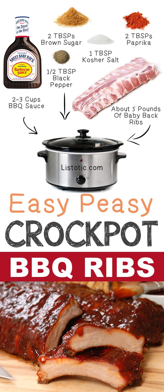 #2. Easy Crockpot BBQ Ribs | 12 Mind-Blowing Ways To Cook Meat In Your Crockpot | Listotic