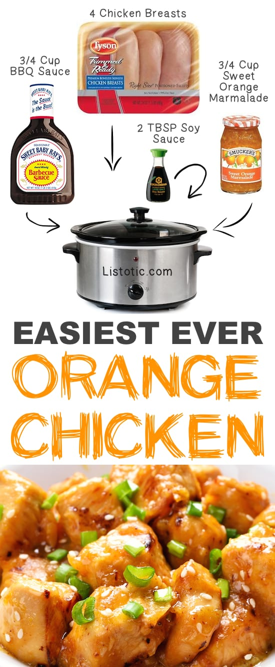 Easy Crockpot Orange Chicken ingredients for the recipe