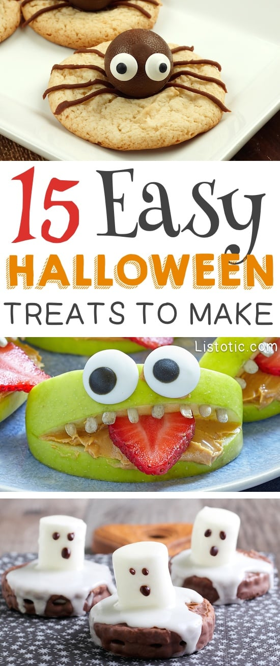 Easy Halloween Treats, apple slice made into a face, marshmellow ghosts and spider cookies.