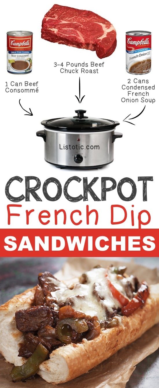 Crockpot French Dip Sandwiches and ingredients to easy slow cooker french dip meat recipe
