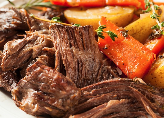 tender pot roast made in the crock pot with potatoes and carrots