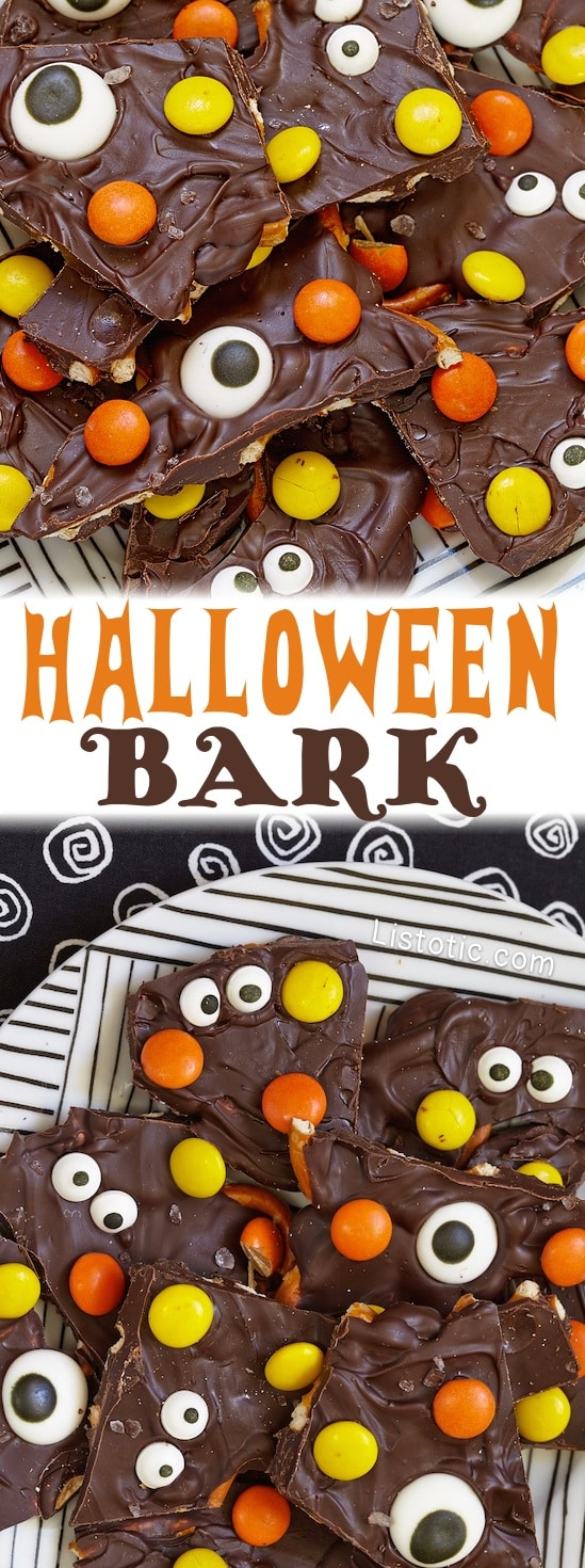 Easy Halloween Chocolate Candy Bark Recipe -- The perfect Halloween party treat!