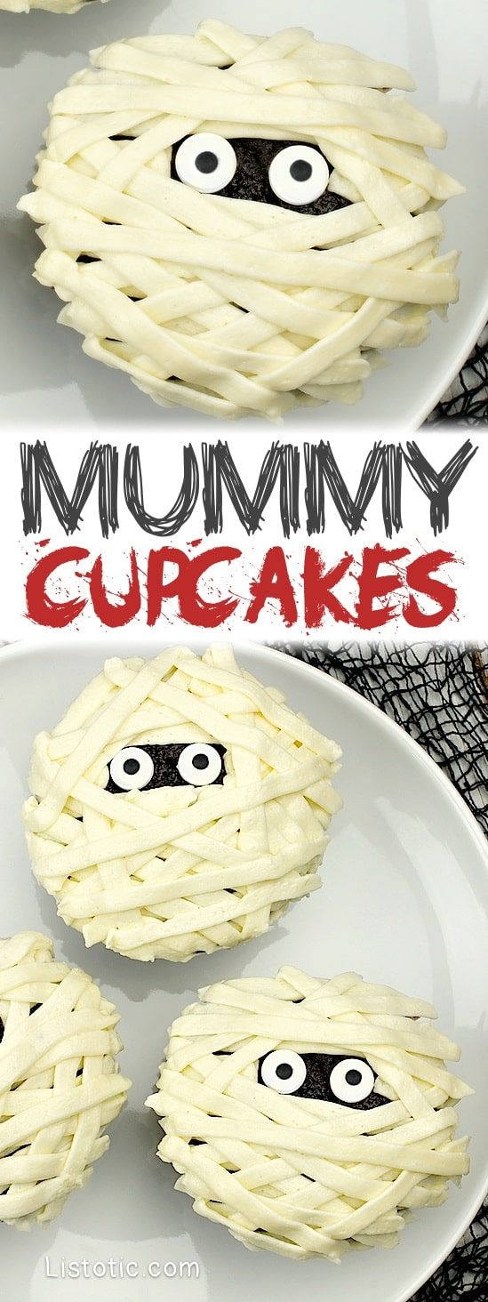 How to make DIY Mummy Cupcakes -- Easy cupcake idea for Halloween and a school party! Kids love these.