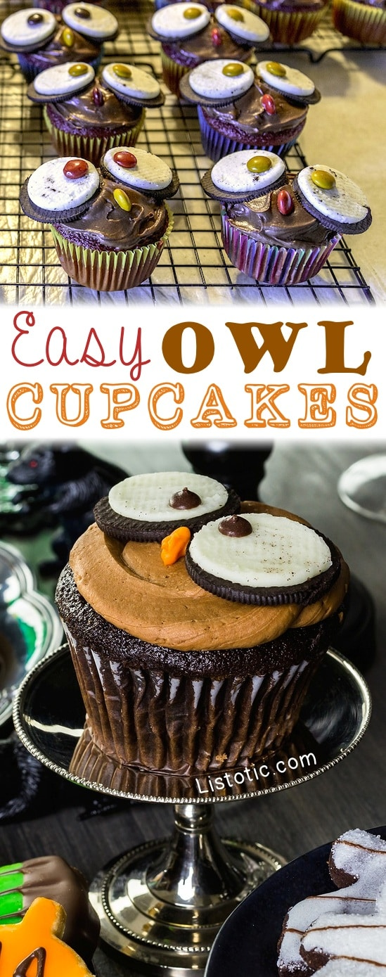 Easy Owl Cupcakes -- a super cute treat for Halloween or Thanksgiving! Fall dessert idea. Fall themed cupcakes.