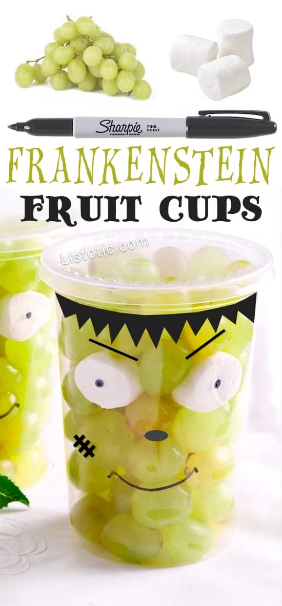 Easy and Healthy Halloween Food Ideas For A Party -- these are perfect for school! Frankenstein Fruit Cups (grapes and marshmallows)