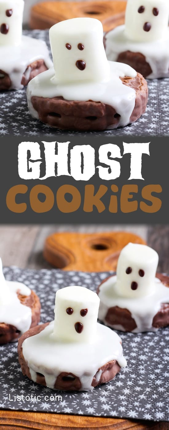 Easy Halloween Decorated Ghost Cookies -- Spooky party food idea! Great for kids and adults!