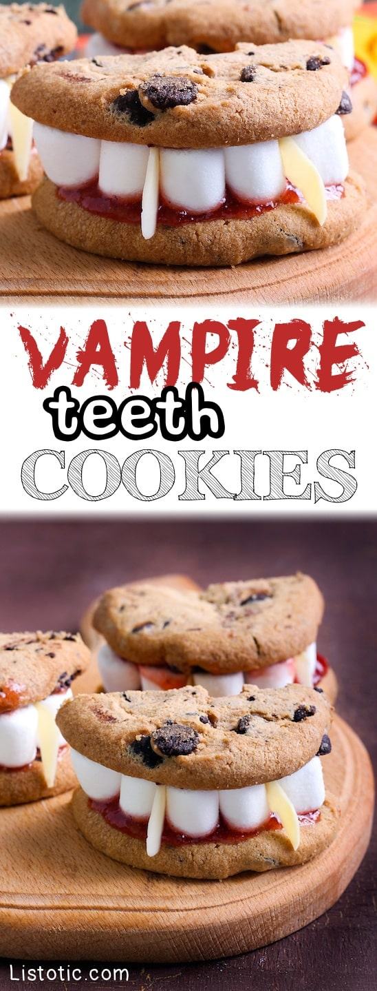 Easy Vampire Teeth Cookies -- A super fun Halloween treat idea for a party! These are perfect for school. Kids love them!