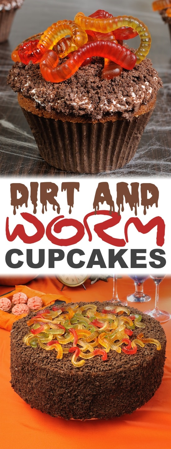 Easy Halloween Cupcake Ideas -- Perfect for a party! Gummy worms and chocolate cake.