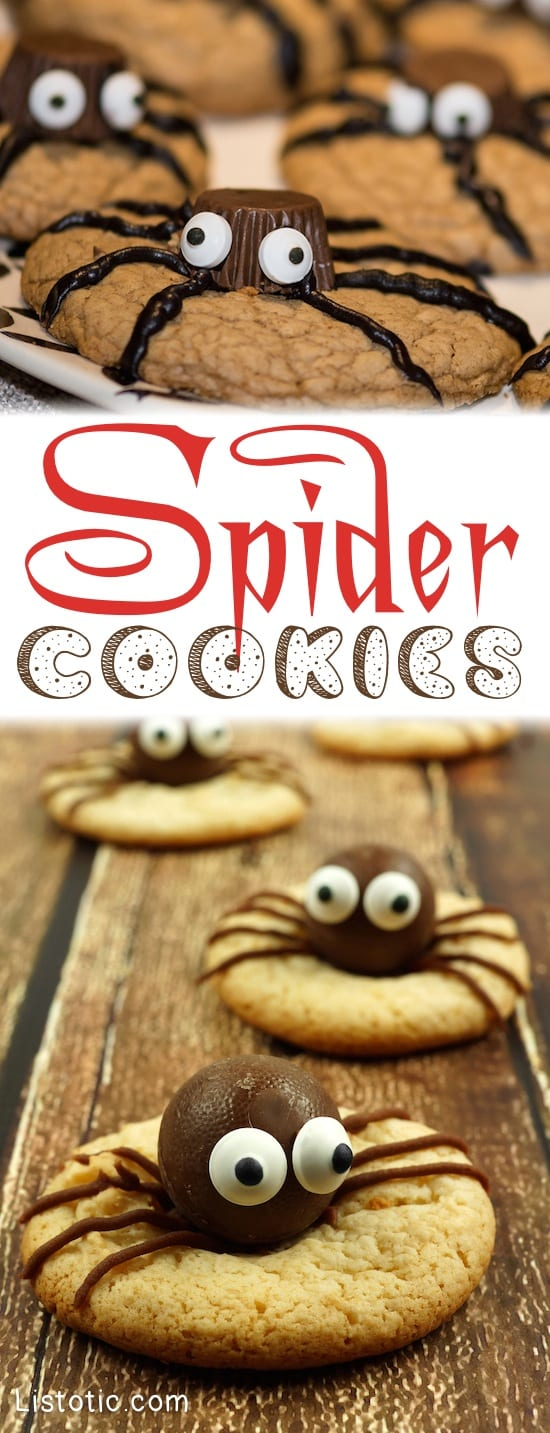 Halloween Party Food Ideas for kids and adults!-- These are easy and so fun to make! Chocolate Spider Cookies