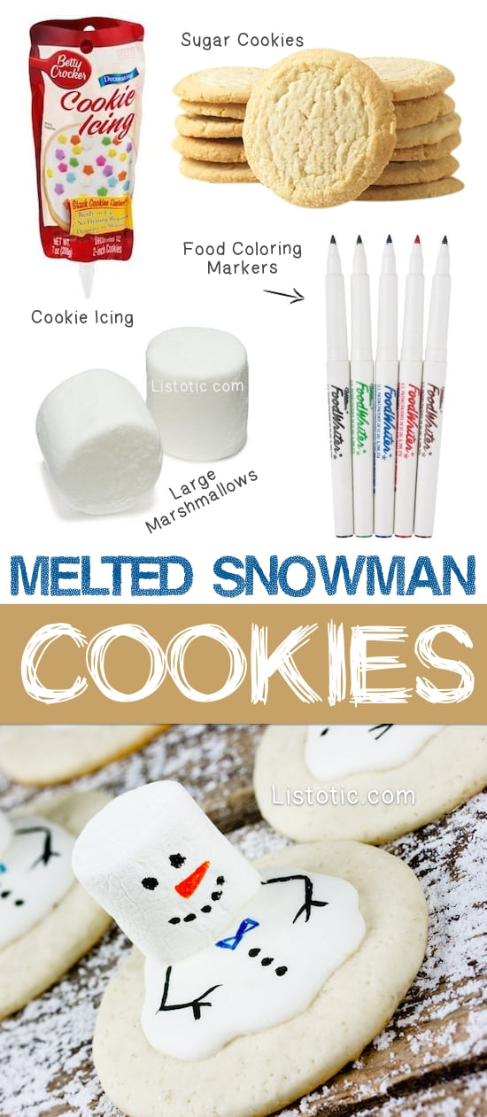 The BEST easy decorated Christmas cookies recipe! Easy Melted Snowman Cookies For Kids. The ultimate Christmas treats for school parties. No bake if you buy the cookies. Christmas dessert for a party. Listotic.com