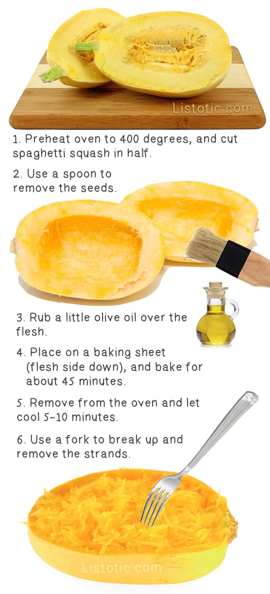 How to cook spaghetti squash in the oven. The easy way to bake it! Step by step instructions. Listotic.com