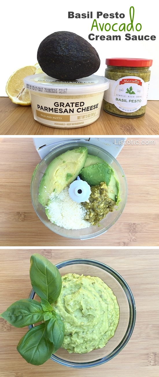 Easy Basil Pesto Avocado Cream Sauce, Spread or Dip -- Super healthy and so versatile!