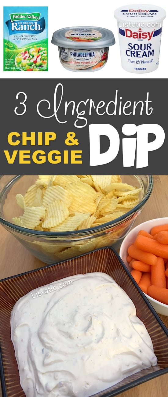 Super easy, 3 ingredient, cold chip and veggie dip appetizer for a party! A real crowd pleaser! Listotic.com