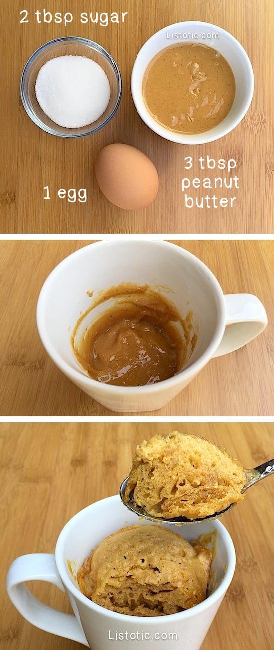 Easy Microwave Peanut Butter Mug Cake -- Just 3 ingredients! The perfect dessert recipe for one. Simple and single serve. Flour-less and gluten free. Listotic.com
