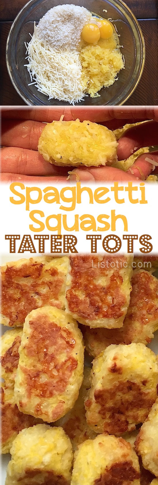 Easy Baked Spaghetti Squash Tater Tots -- These are so good, and only 4 ingredients! A nice healthy snack idea. Even kids love them. | Listotic.com