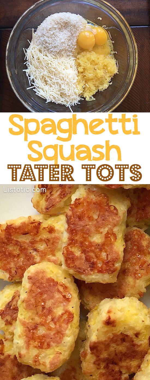 Spaghetti Squash Tater Tots - A healthy snack alternative the kids will love! | Listotic.com