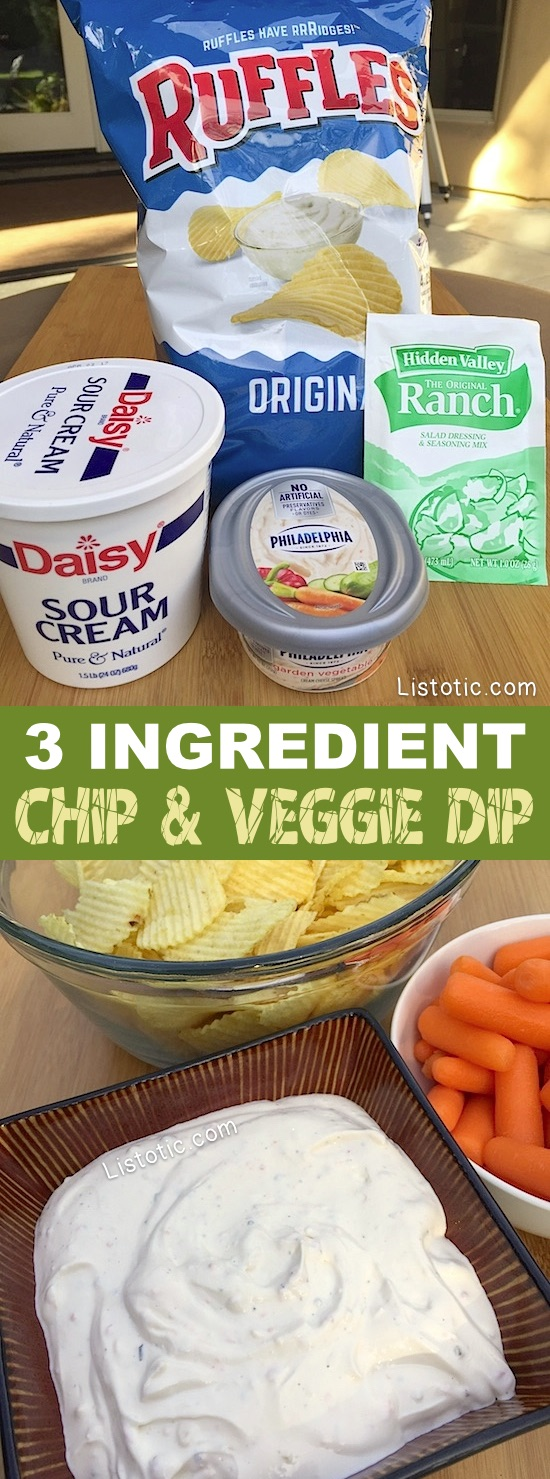 The BEST cold dip recipe for parties! It's perfect for chips and veggies. Super quick and easy no-bake recipe! Just 3 simple ingredients (sour cream, cream cheese, and ranch seasoning). Make ahead! | Listotic.com