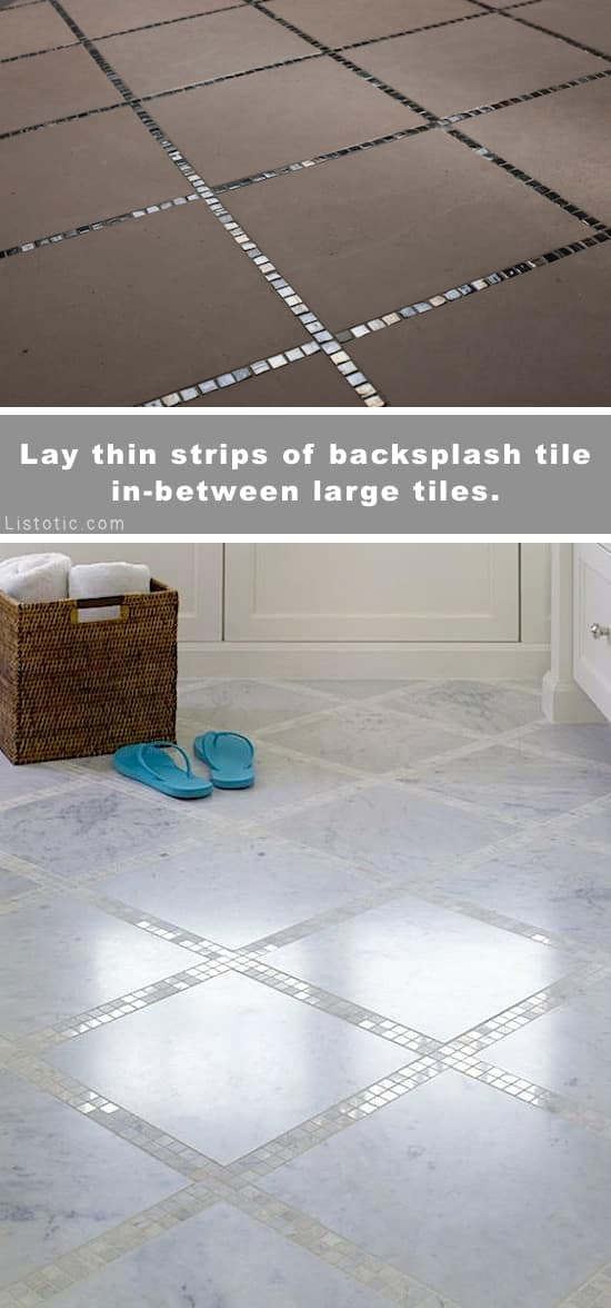Home Decor Ideas -- Beautiful and creative tile ideas for kitchen back splashes, master bathrooms, small bathrooms, patios, tub surrounds, or any room of the house! | Listotic.com