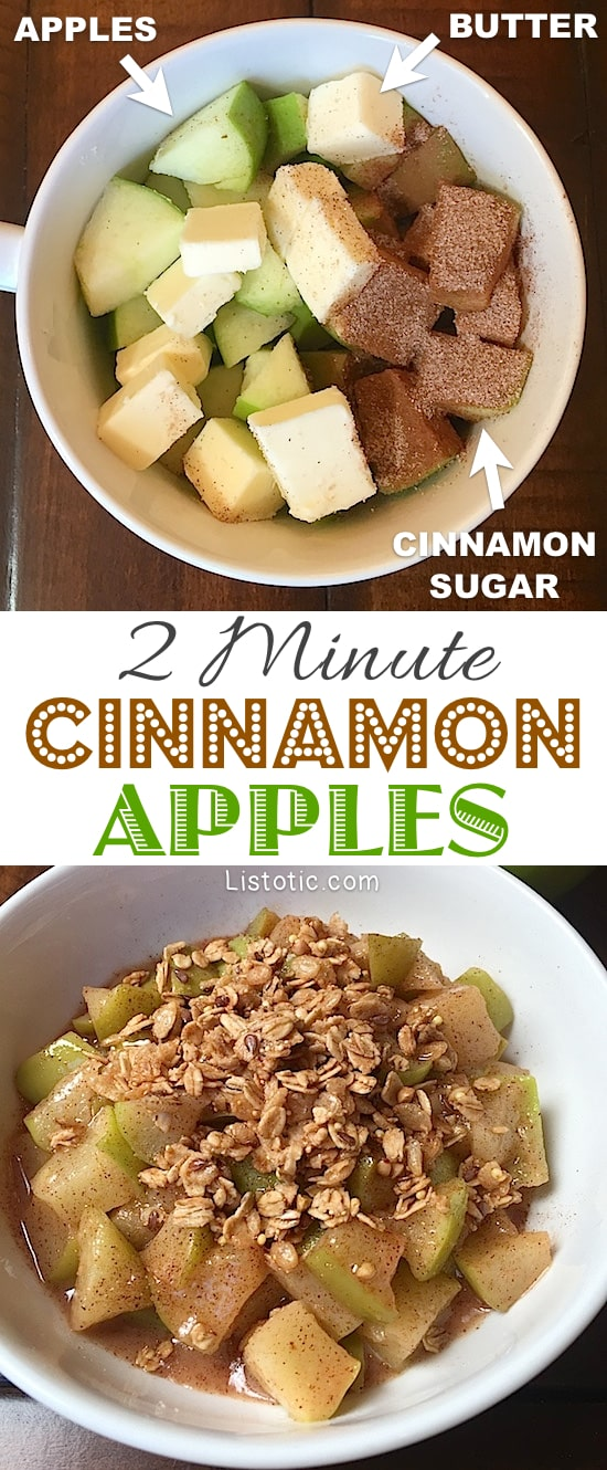 Super easy and quick dessert recipe made with just 3 ingredients! 2 Minute Microwave Cinnamon Apples For One -- It's a simple homemade and healthy, no bake snack or treat everyone will love. Tastes like apple pie! | Listotic.com