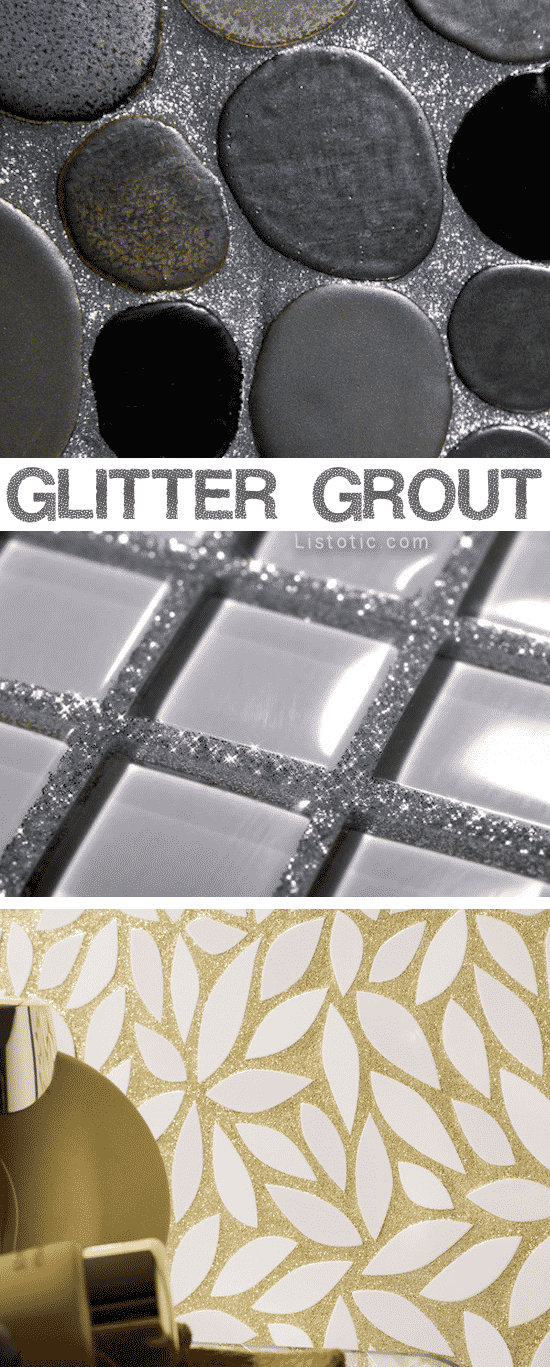 Home Decor Ideas -- Glitter grout! LOVE!! Lots of beautiful tile ideas for kitchen back splashes, master bathrooms, small bathrooms, patios, tub surrounds, or any room of the house!