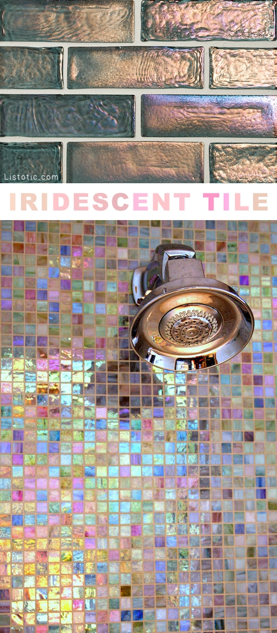 Home Decor Ideas -- I love this shimmery tile!! Lots of creative tile ideas for kitchen back splashes, master bathrooms, small bathrooms, patios, tub surrounds, or any room of the house!