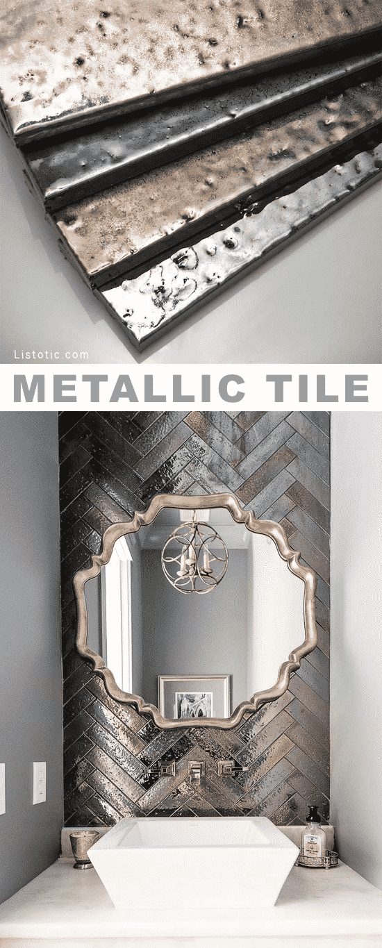 Home Decor Ideas -- Metallic tile! Beautiful and creative tile ideas for kitchen back splashes, master bathrooms, small bathrooms, patios, tub surrounds, or any room of the house! | Listotic.com