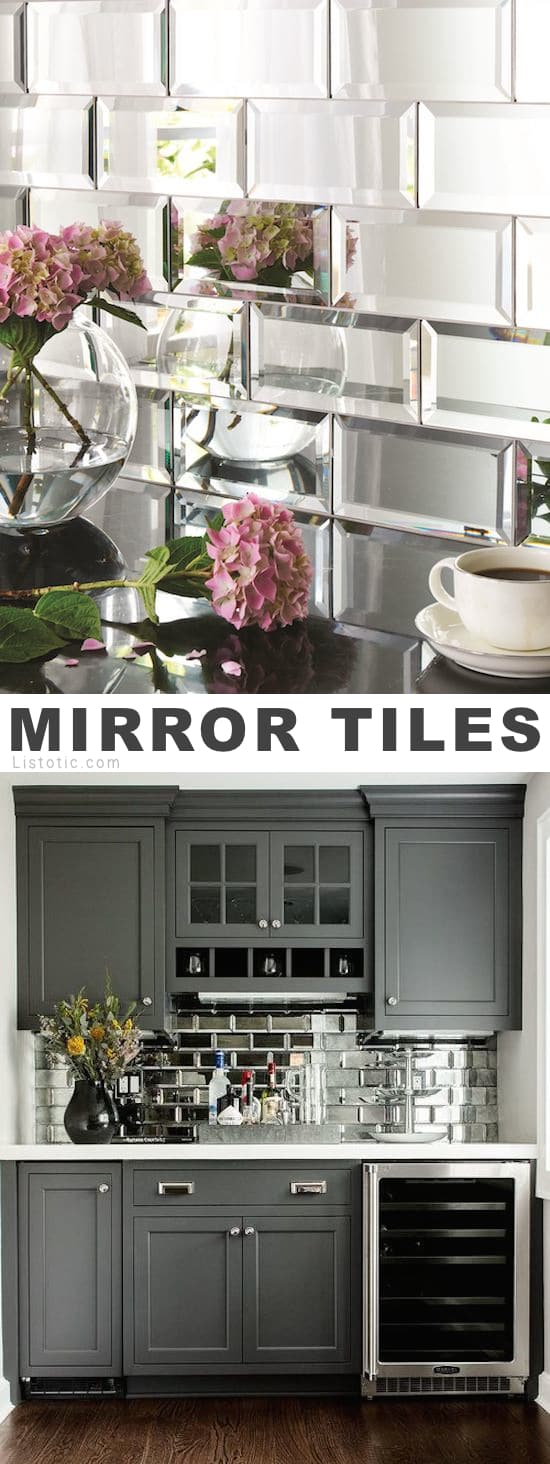Home Decor Ideas -- Mirrored tile!? I LOVE it! Lots of creative tile ideas for kitchen back splashes, master bathrooms, small bathrooms, patios, tub surrounds, or any room of the house!