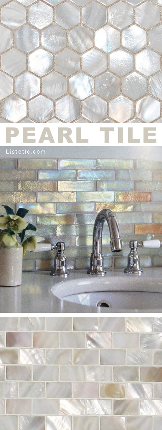 Home Decor Ideas -- I LOVE pearl tile! Lots of gorgeous tile ideas for kitchen back splashes, master bathrooms, small bathrooms, patios, tub surrounds, or any room of the house! | Listotic