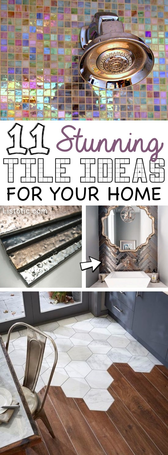 Home Decor Ideas -- Beautiful and creative tile ideas for kitchen back splashes and countertops, floors, master bathrooms, fireplaces, small bathrooms, patios, tub surrounds, or any room of the house! | Listotic