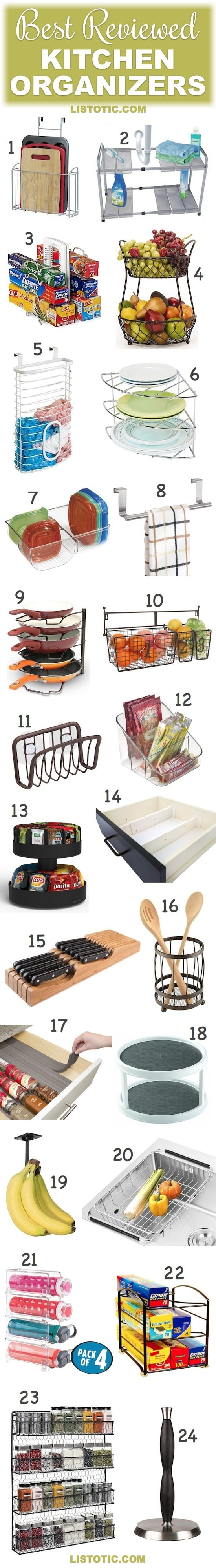 Small Kitchen Organization Ideas | These organizers are great for the pantry shelves, cabinets, under the sink or countertops... especially for small space kitchens or apartments (on a budget). | Listotic.com