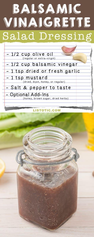 Easy Homemade Balsamic Vinaigrette Salad Dressing Recipe (healthy and easy!) | Listotic.com