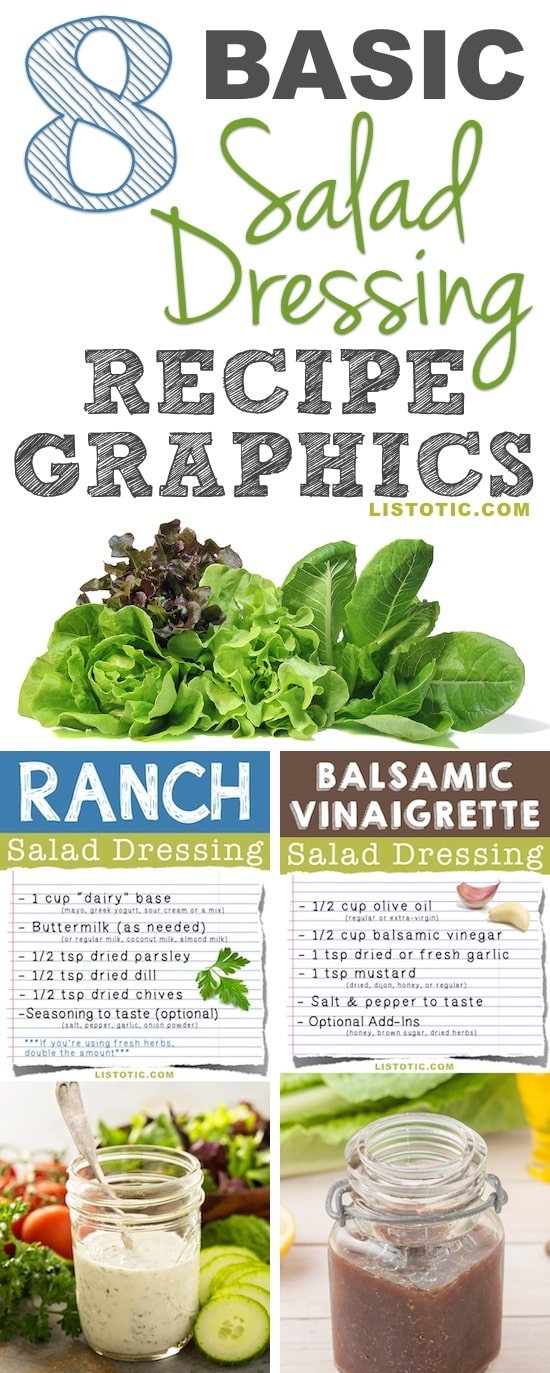 Easy Homemade Salad Dressing Recipes and Ideas (healthy and so much tastier than store-bought!) | Listotic.com