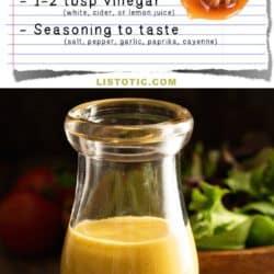 Easy Homemade Honey Mustard Salad Dressing Recipe (healthy and easy!) | Listotic.com