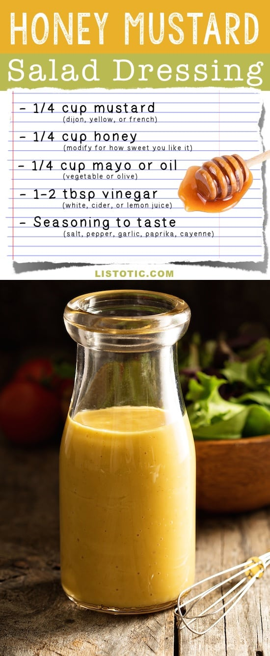 Easy Homemade Honey Mustard Salad Dressing Recipe (healthy and easy!) | Listotic.com