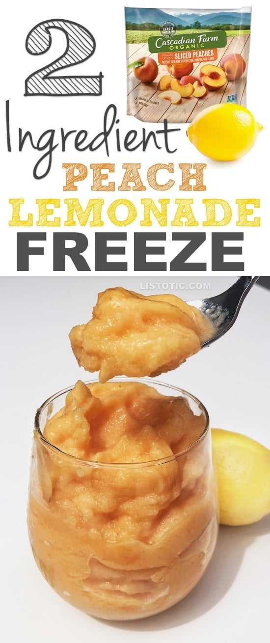 2 Ingredient Peach Lemonade Freeze (it's like a super thick smoothie!) - The perfect healthy snack recipe for summer! Listotic.com