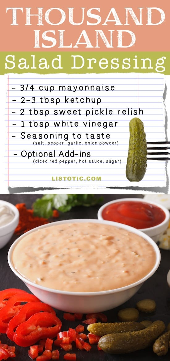 Easy Homemade Thousand Island Salad Dressing Recipe -- plus burger or sandwich spread that's healthy and easy! Listotic.com