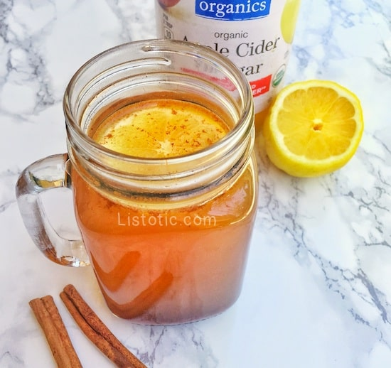 Apple cider vinegar, lemon, cinnamon detox drink for weight loss and a healthy gut!